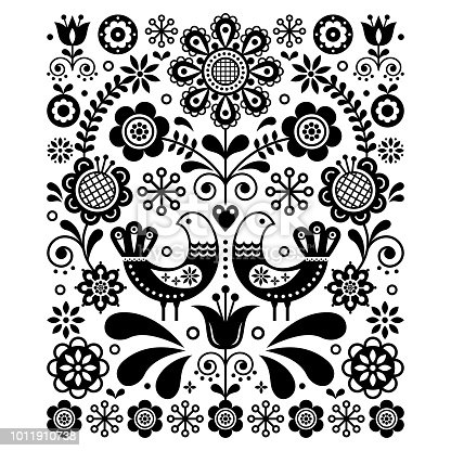 Retro, traditional monochrome floral ornament inspired by Swedish and Norwegian traditional embroidery