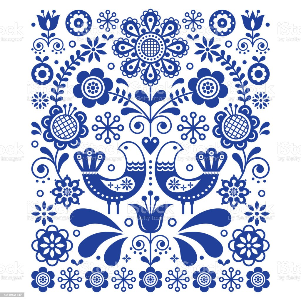 Scandinavian Cute Folk Art Vector Decoration With Birds And Flowers Navy Blue Floral Pattern