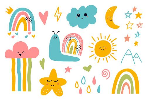 Scandinavian Cute Smiling Moon, Cloud, Star, Rainbow, Sun
