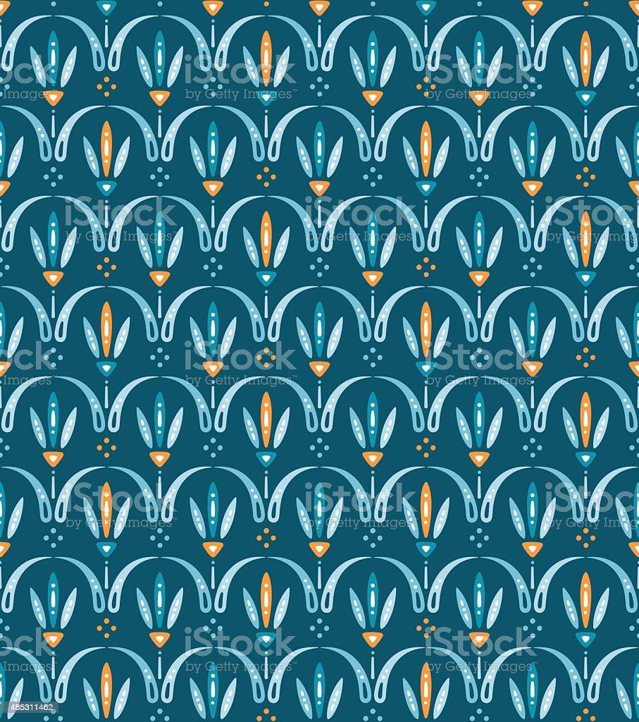 Skandinavisches design muster  Skandinavisches Design Muster Mit Geometrischen Tulpen Auf Blauem ...