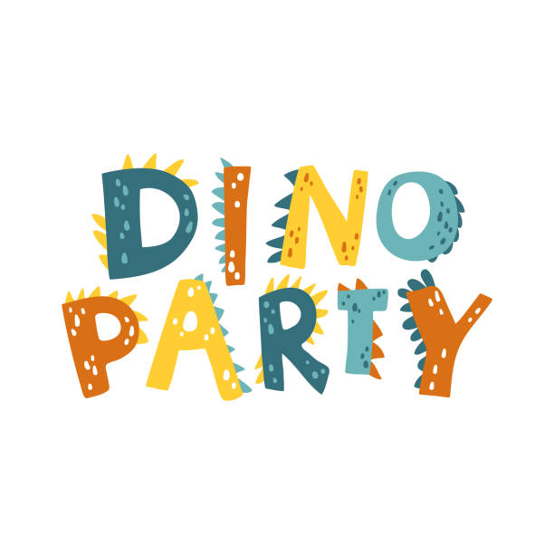 scandinavian DINO PARTY Dinosaur vector illustration in flat cartoon scandinavian style with DINO PARTY lettering. Childish design for birthday invitation or baby shower, poster, clothing, nursery wall art and card. garden center stock illustrations