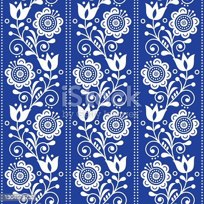 istock Scandinavian ethnic seamless folk art vector pattern with flowers and hearts, Nordic vertical ornament design in white on navy blue 1304678732