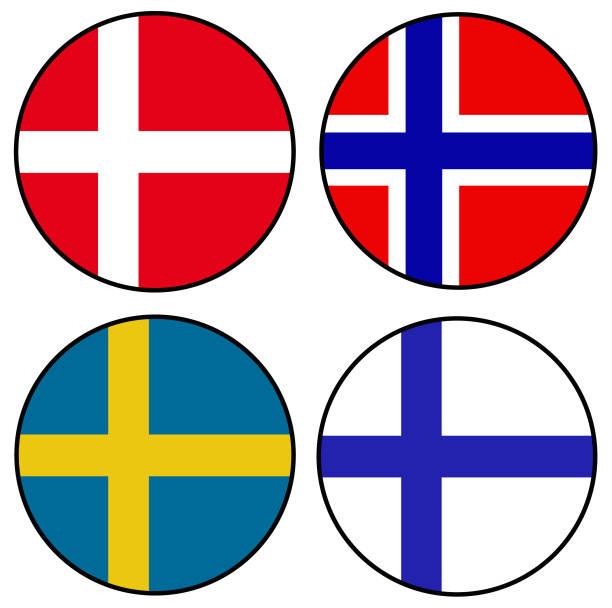 ilustraciones, imágenes clip art, dibujos animados e iconos de stock de banderas diseño escandinavo - bandera sueca