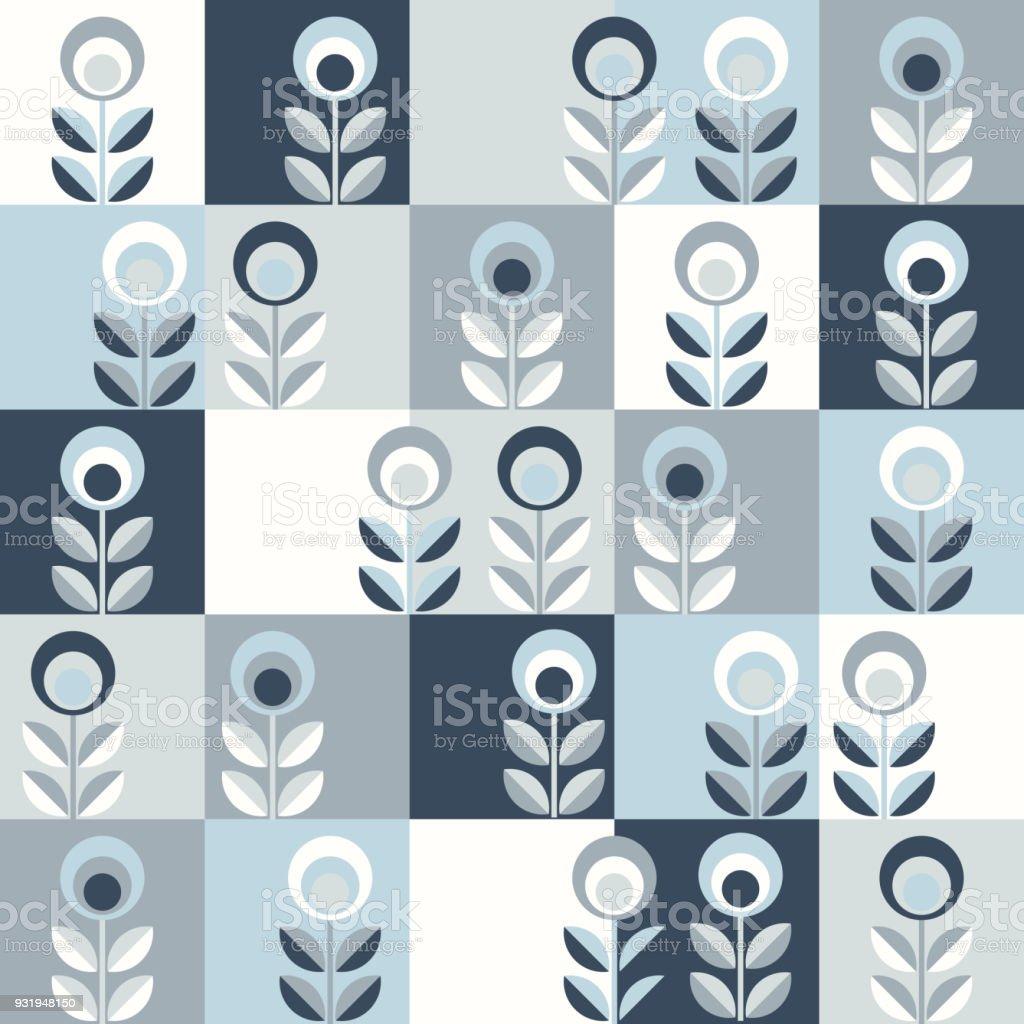 Skandinavische Blumenkarte Mitte Jahrhundert Tapete, Nahtlose Muster  Lizenzfreies Skandinavische Blumenkarte Mitte Jahrhundert Tapete Nahtlose  Muster
