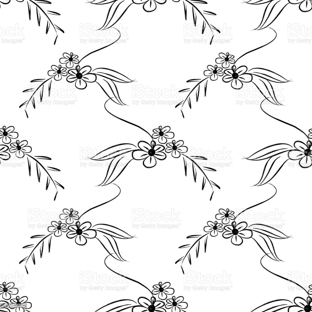 Scandinavian Floral Seamless Pattern Isolated On White Background