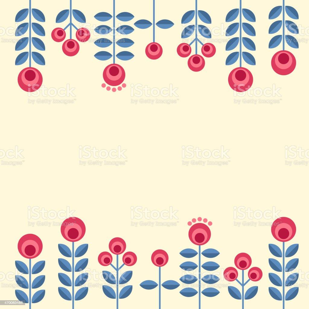 Scandinavian flowers vector art illustration
