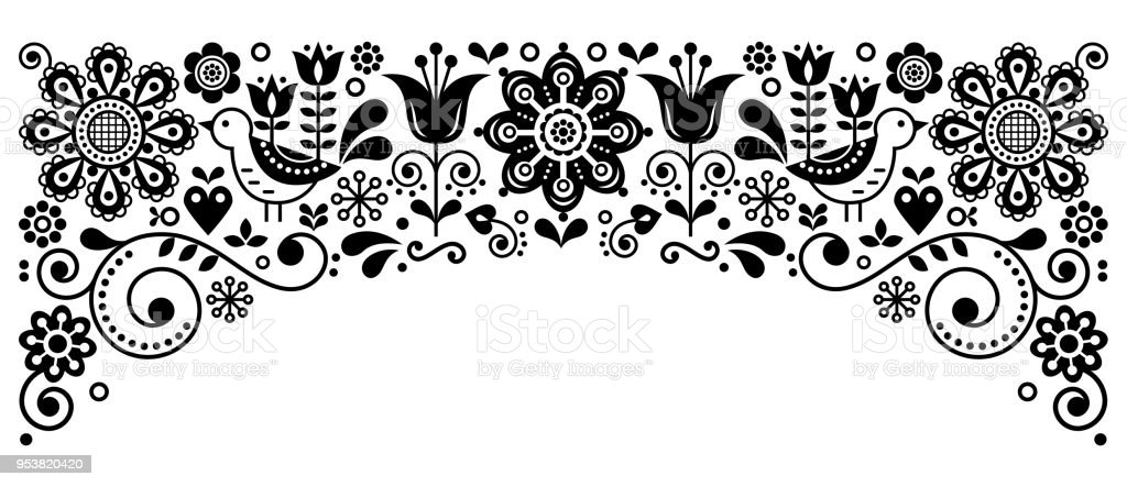 Scandinavian Folk Art Frame Border Retro Vector Greeting Card Design