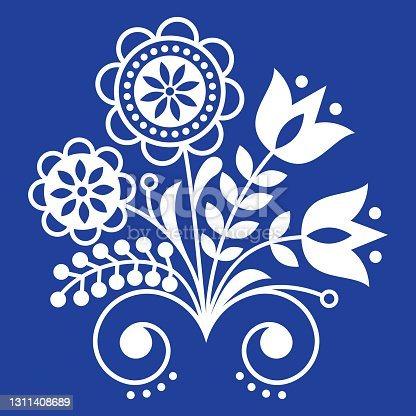 istock Scandinavian folk art ornament with flowers, Nordic floral design, retro background in white on navy blue 1311408689