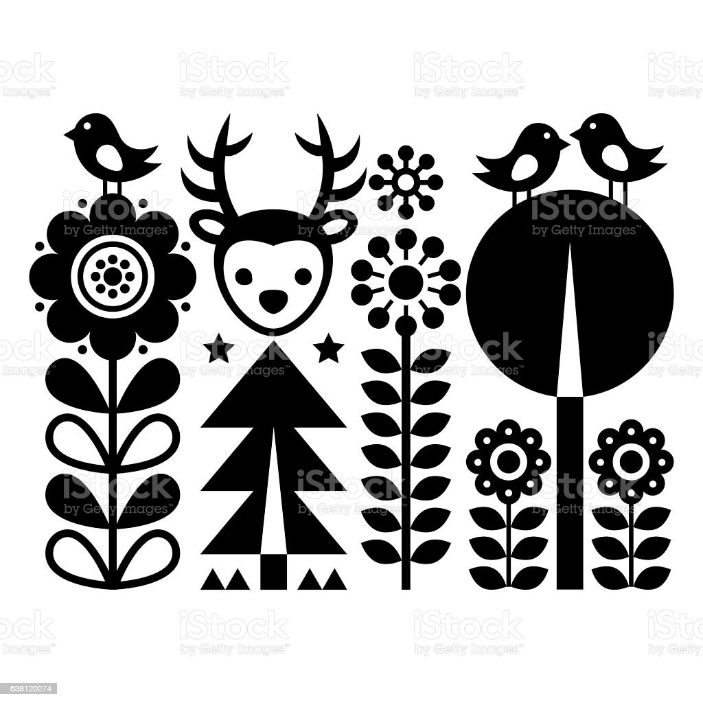 Scandinavian folk art pattern - Finnish inspired, Nordic style vector art illustration