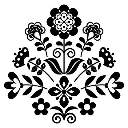 Scandinavian folk art vector cute floral pattern greeting card with flowers in black and white