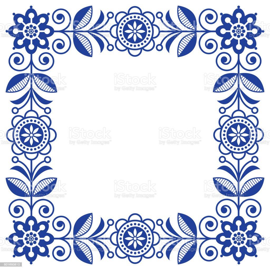 scandinavian folk art vector frame cute floral border square pattern rh istockphoto com floral border vector free floral border vector cdr