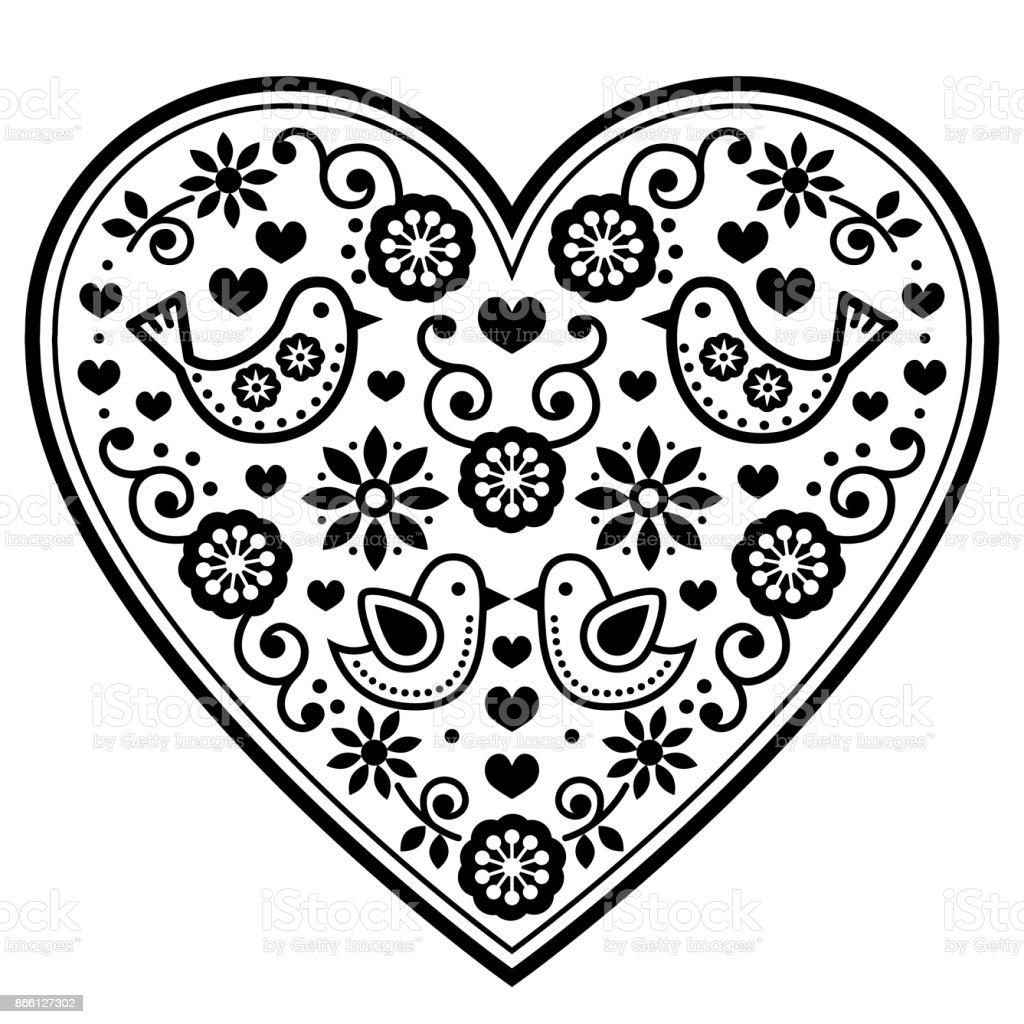 Scandinavian folk heart vector black pattern with flowers and birds scandinavian folk heart vector black pattern with flowers and birds valentines day wedding kristyandbryce Gallery