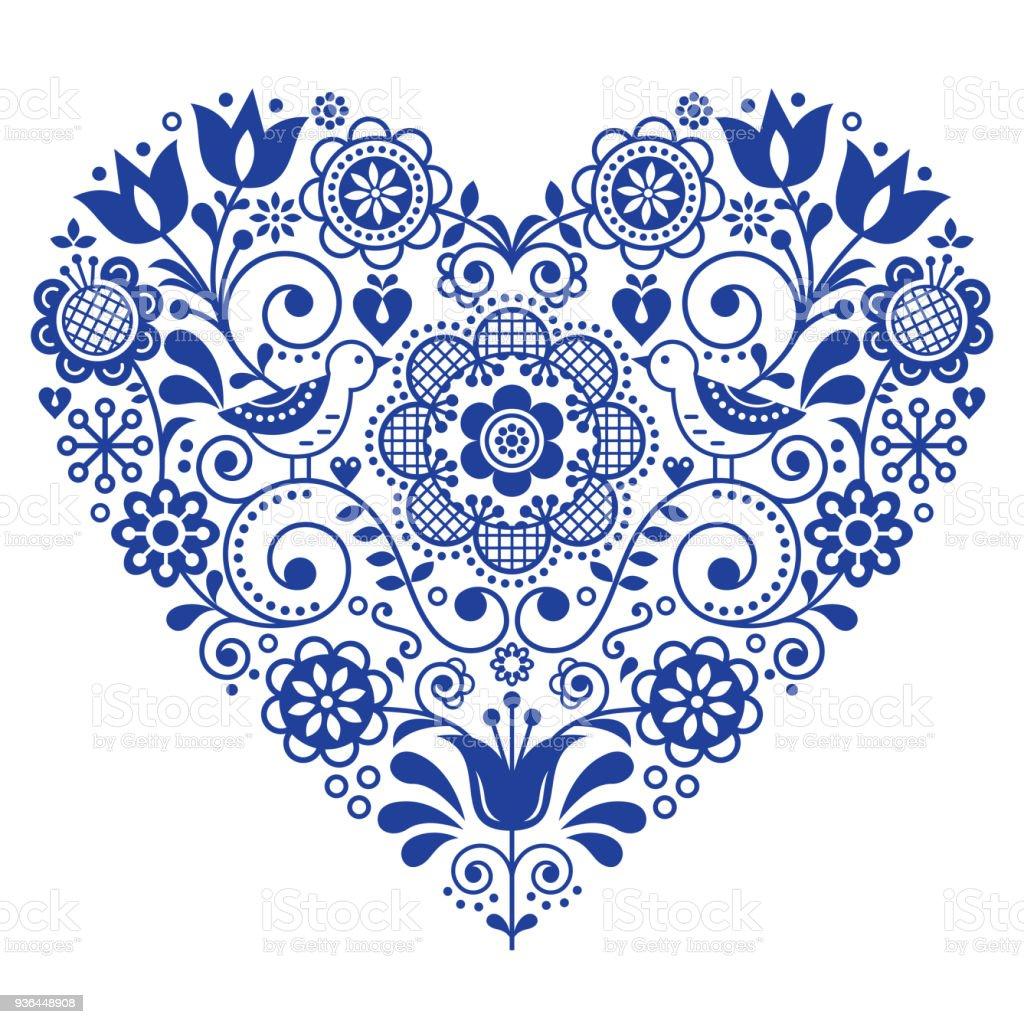 Scandinavian folk heart vector design, Valentine's Day, birthday or wedding greeting card, floral pattern in navy blue vector art illustration
