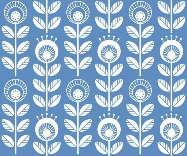 bildbanksillustrationer, clip art samt tecknat material och ikoner med skandinaviska folk stil blommor, sömlös vektor mönster - swedish nature