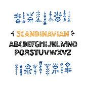 Creative font with folk motives - scandinavian. Ornate alphabet with florals inside. Vector illustration.