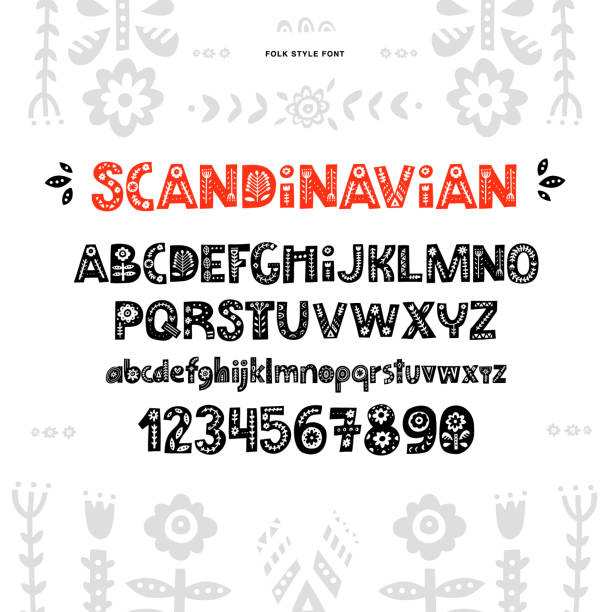 bildbanksillustrationer, clip art samt tecknat material och ikoner med skandinaviska font vektor - swedish nature