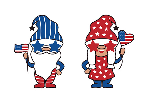 Scandinavian Gnomes to celebrate 4th of July Day. Girl and boy for Independence Day America