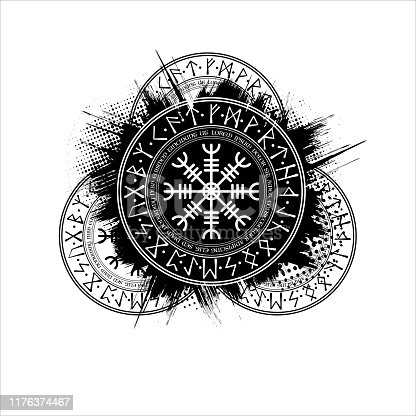 Black grunge ink blots splash pattern with Scandinavian runic circle symbol