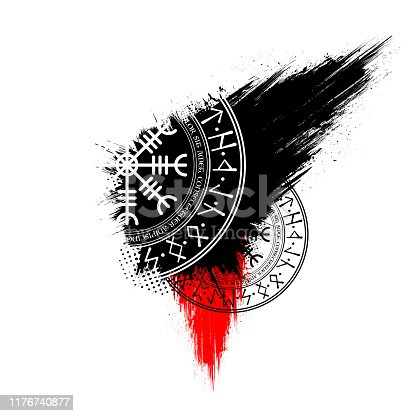 Abstract background with black and red grunge ink blots splash and Scandinavian circle symbols
