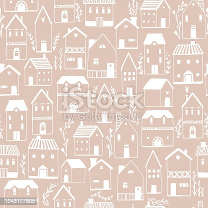 istock Scandinavian houses seamless pattern. Vector hand-drawn illustration of a building in a simple childish cartoon style. Cute sketch drawing in white on a light beige background 1243127805