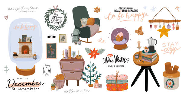 skandinavischen interieur mit dezember dekorationen - kranz, katze, baum, geschenk, kerzen, tisch. - cozy stock-grafiken, -clipart, -cartoons und -symbole