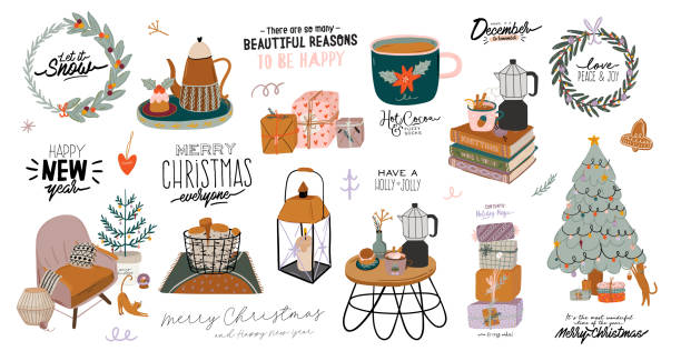 ilustrações de stock, clip art, desenhos animados e ícones de scandinavian interior with december home decorations - wreath, cat, tree, gift, candles, table. cozy winter holiday season. cute illustration and christmas typography in hygge style. vector. isolated. - hygge