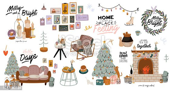 istock Scandinavian interior with December home decorations - wreath, cat, tree, gift, candles, table. Cozy Winter holiday season. Cute illustration and Christmas typography in Hygge style. Vector. Isolated. 1187090194