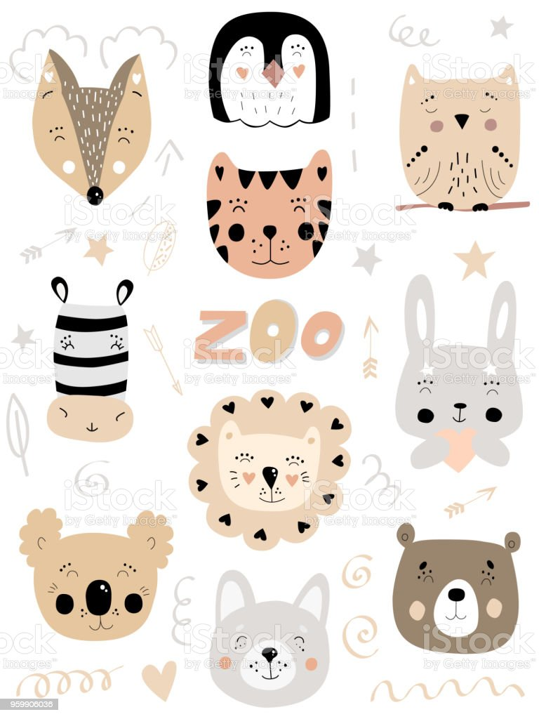 Scandinavian kids color doodles zoo elements set cartoon poster with faces of wild animals hand drawn lion bear hare rabbit zebra tiger owl koala fox wolf penguin on white background