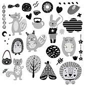 Scandinavian kids doodles elements pattern black and white monochrome set, wild hand drawn animals fox, cat, rabbit, bear, hare, lion, cloud, face, tree, cake. Cute for kids. Vector illustration.