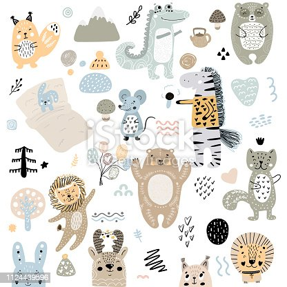 Scandinavian kids doodles elements pattern set of cute color wild animal and characters: zebra, bear, deer, squirrel, cat, rabbit, hare, crocodile, mouse, tree, mountains, lion hand drawn.