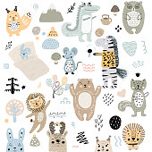 Scandinavian kids doodles elements pattern set of cute color wild animal and characters: zebra, bear, deer, squirrel, cat, rabbit, hare, crocodile, mouse, tree, mountains, lion.
