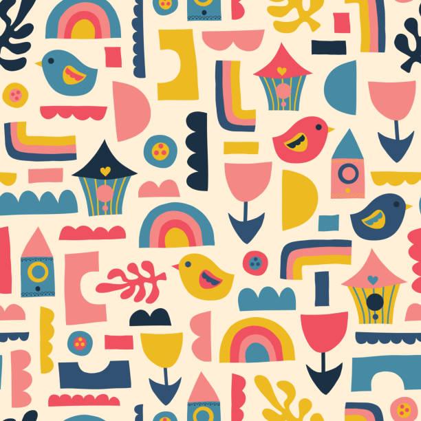 Scandinavian kids pattern birds rainbows and shapes. Seamless vector background. vector art illustration
