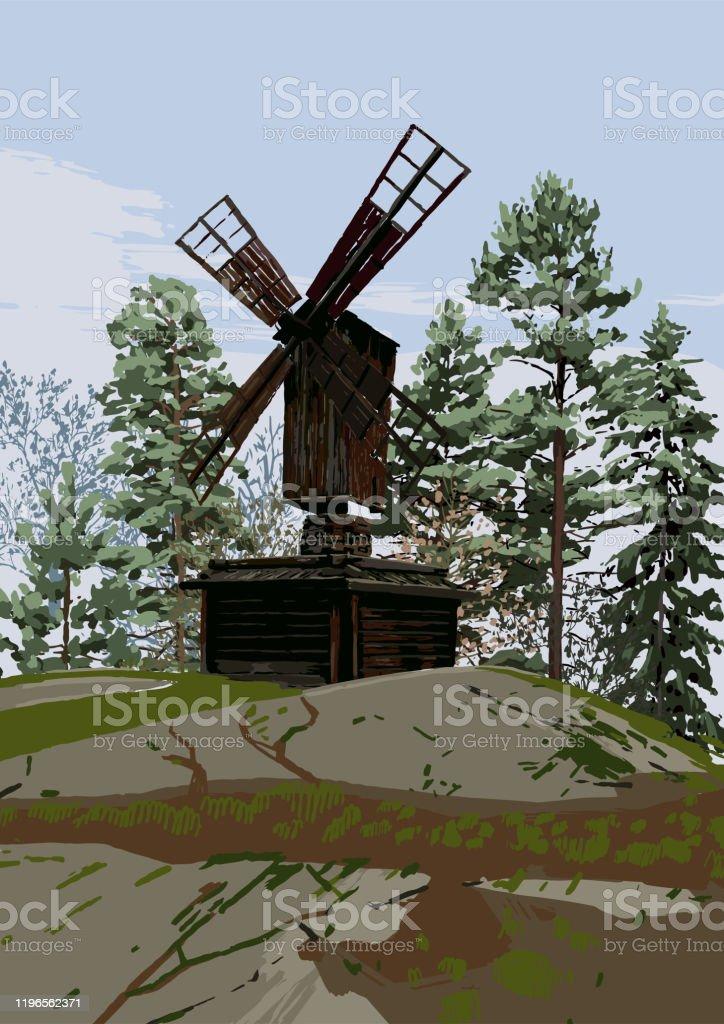Skandinaviskt landskap med traditionell träkvarn i klippiga bergen, omgiven av barrträd - Royaltyfri Arkivfilm vektorgrafik
