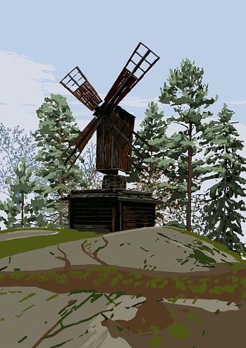 Skandinaviskt Landskap Med Traditionell Träkvarn I Klippiga Bergen Omgiven Av Barrträd-vektorgrafik och fler bilder på Arkivfilm