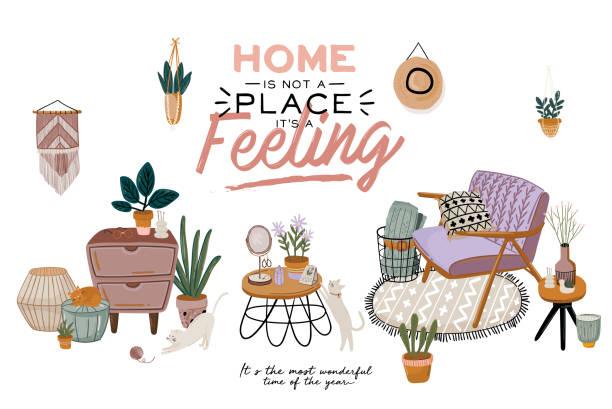 ilustrações de stock, clip art, desenhos animados e ícones de scandinavian living room interior - sofa, armchair, coffee table, plants in pots, lamp, home decorations. - hygge