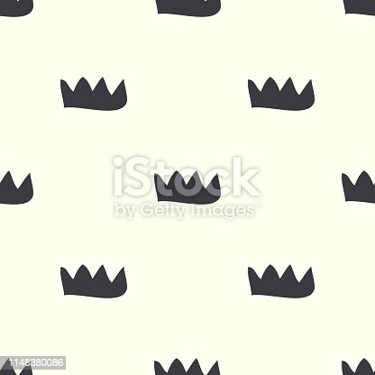 Scandinavian minimal black-white pattern with crown. Seamless  design for fabric, cover, banner, interior, children's clothing, print for packaging cosmetics, gift packaging