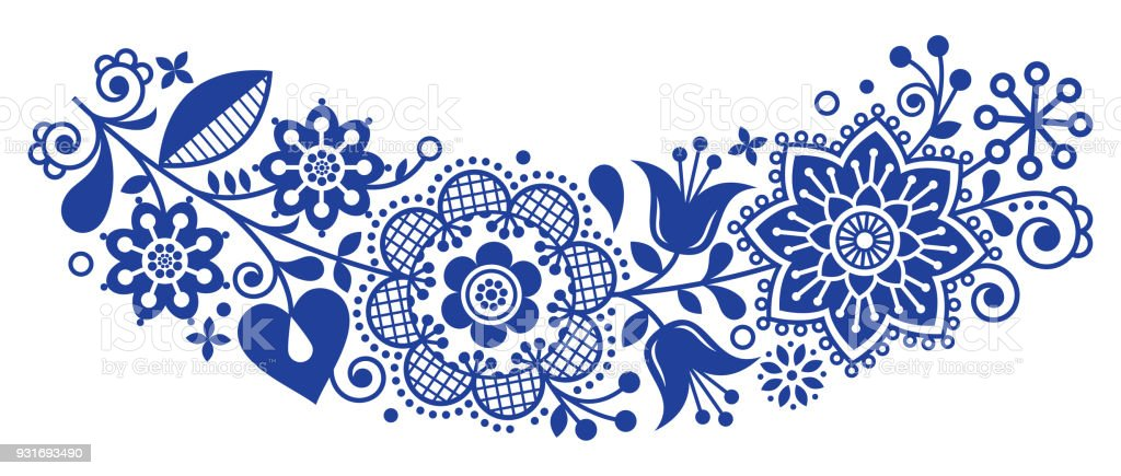 Scandinavian Nordic Design Graphics Vector Folk Art Pattern