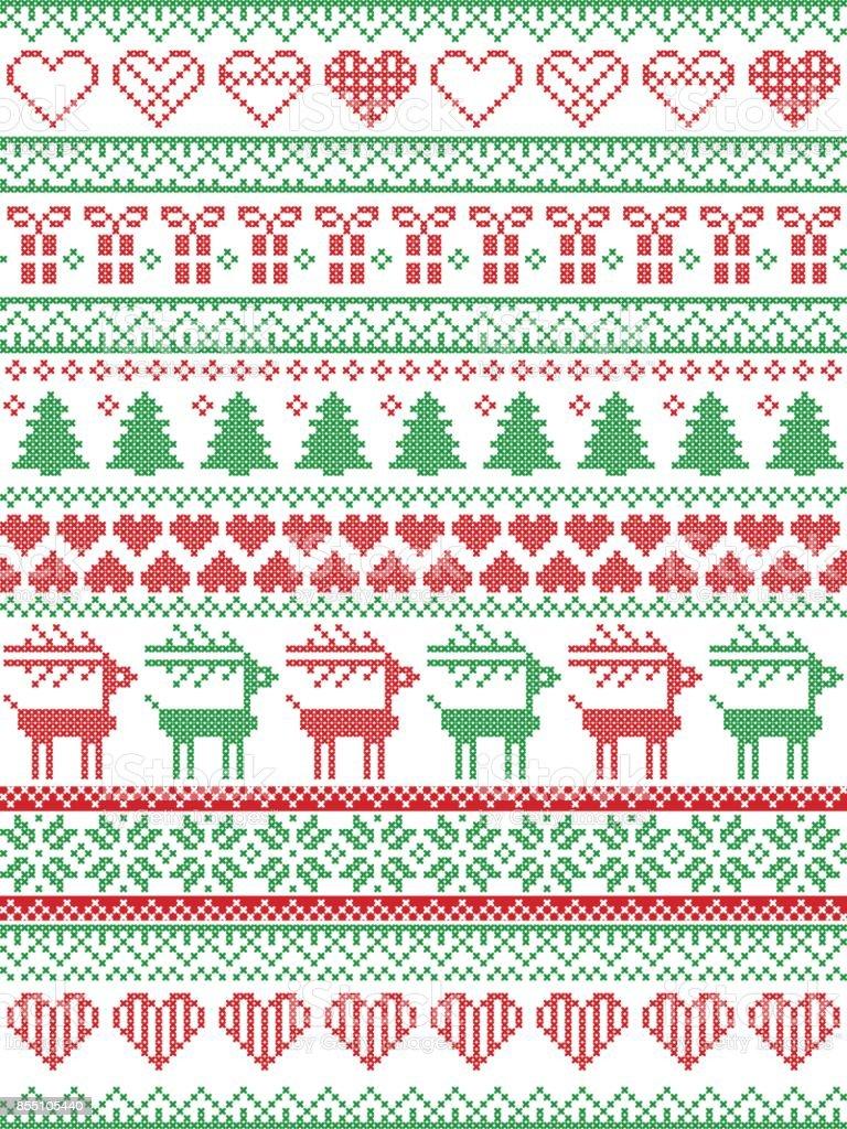 Ilustración de Escandinavos Nórdicos Estilo Invierno Costura Navidad ...