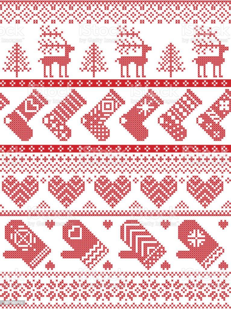 Skandinavisch Nordischen Stil Winter Naht Weihnachten Muster ...