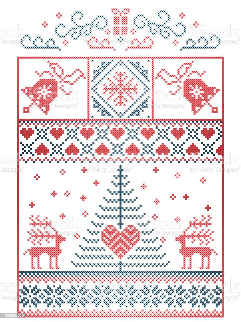 Escandinavos Nórdicos Estilo Invierno Costura Navidad Patrón ...