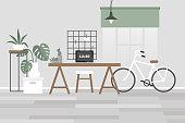 Scandinavian office interior. Desk, chair, plants, bike. No people template. Flat editable vector illustration, clip art