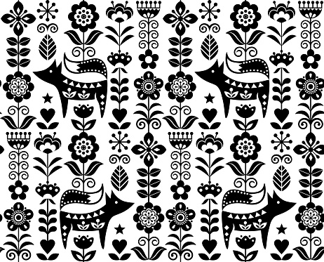 Scandinavian or Nordic folk art vector seamless pattern with flowers and fox, floral textile design inspired by traditional embroidery from Sweden, Norway and Denmark