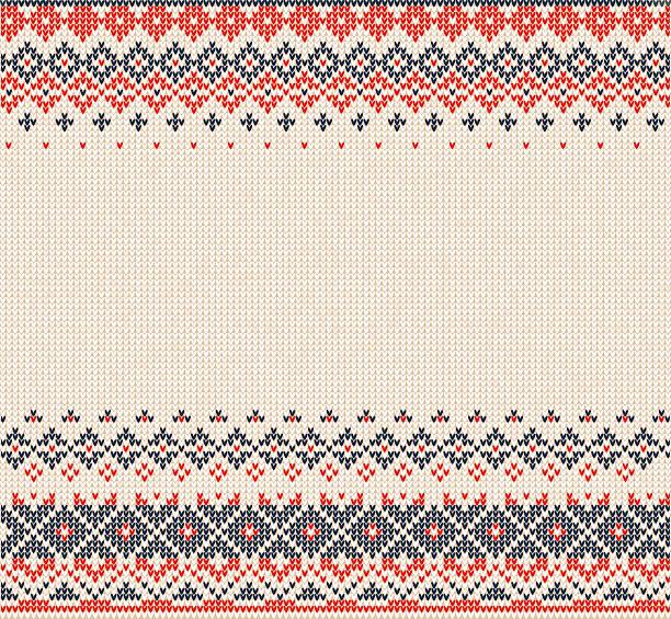 スカンジナビアやロシア風ニットの背景、縁取り - 編む点のイラスト素材/クリップアート素材/マンガ素材/アイコン素材