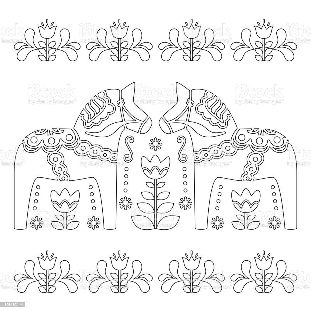Paarden Kleurplaten Boek.Scandinavische Overzicht Vector Design Zweedse Dala Of Teken Paard Patroon Boek Kleurplaten Voor Volwassenen Stockvectorkunst En Meer Beelden Van