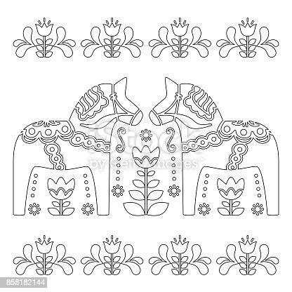 scandinavian outline vector design swedish dala or dalecarlian horse pattern coloring book for adults stock vector art 858182144 istock