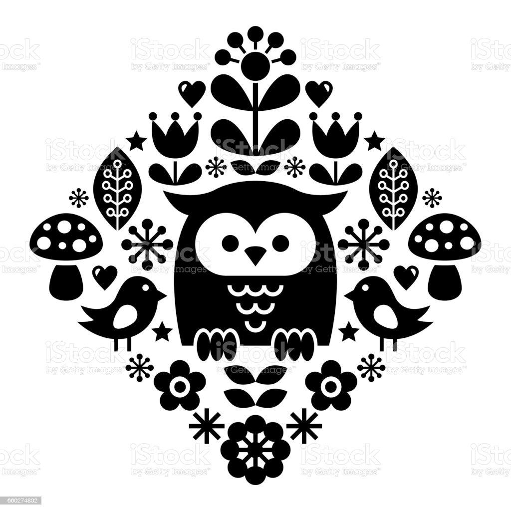 Scandinavian pattern, Nordic folk art - inspired by traditional Finnish and Swedish designs vector art illustration