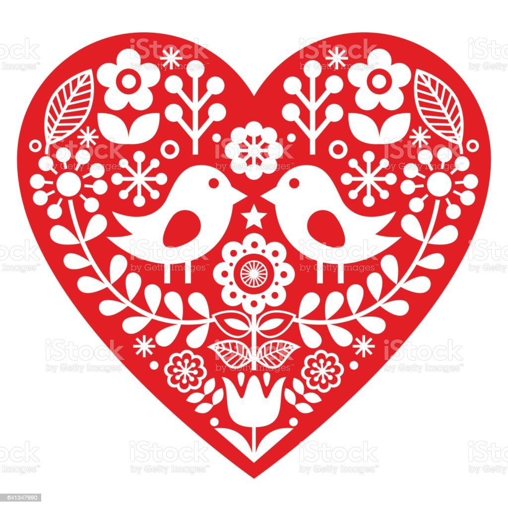 Scandinavian Red Folk Art Pattern With Birds And Flowers Valentines ...