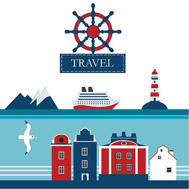 illustrazioni stock, clip art, cartoni animati e icone di tendenza di scandinavian mare crociera piatto icone vettoriali - fiordi