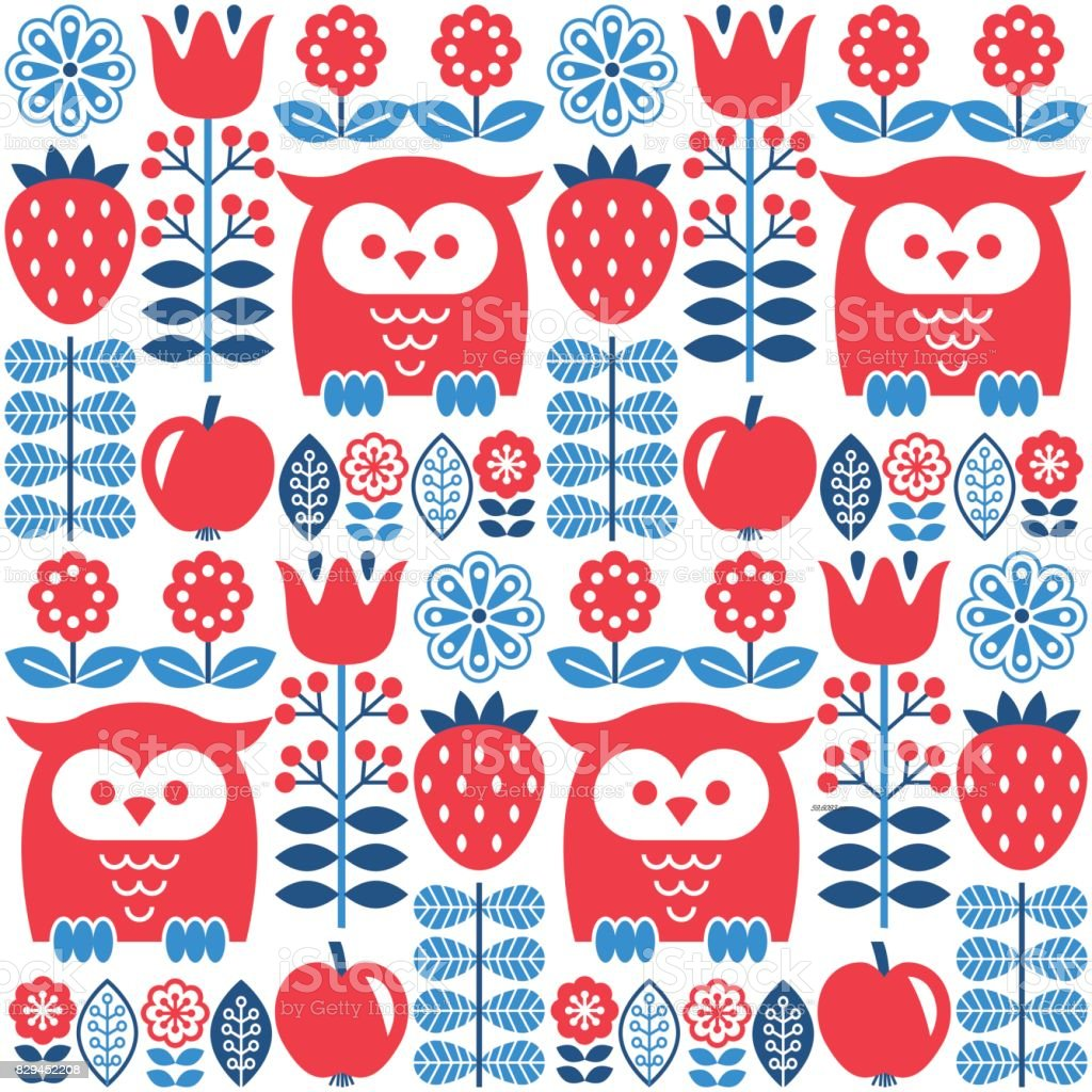 Scandinavian seamless cute pattern with owl and flower, inspired by Swedish and Finnish folk art, Nordic style vector art illustration