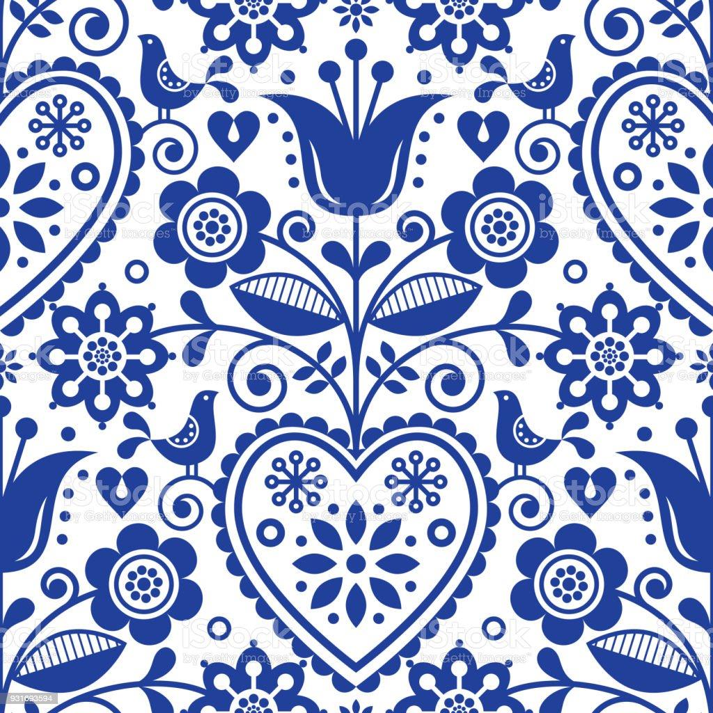 Scandinavian Seamless Folk Art Vector Pattern Floral Navy Blue